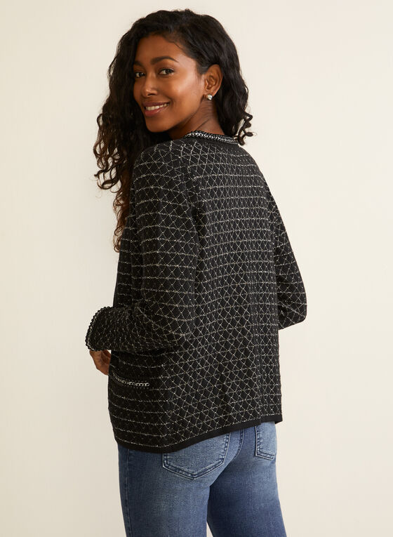 Metallic Detail Open Front Cardigan, Black