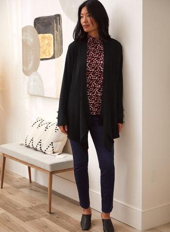 Cardigan en tricot à ourlet asymétrique, Noir,  haut, cardigan ouvert, manches longues, boutons décoratifs, tricot côtelé, ourlet asymétrique, tricot doux, automne 2021