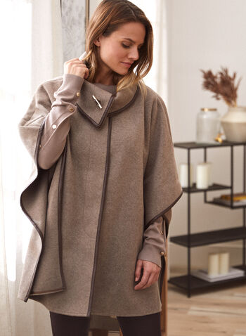 Stretch Faux Wool Cape, Off White,  fall winter 2021, coat, poncho, outerwear, shawl, envelope, stand collar, toggle, button front, concealed buttons, Laura Exclusive, pockets, vegan leather trim, wool like, faux wool, stretch, wool