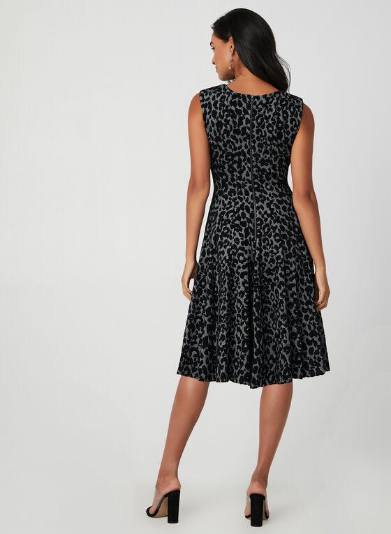 Leopard Print Fit & Flare Dress, Grey