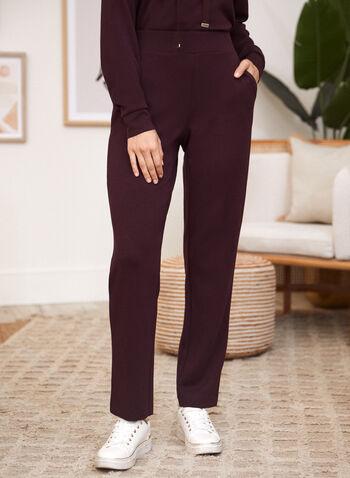 Straight Leg Pull-On Pants, Purple,  fall winter 2021, pants, lounge, loungewear, pull-on, pull on, elastic waist, high-rise, high waisted, pockets, straight leg, scuba, relax