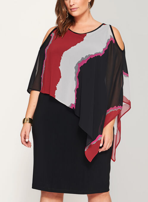 Abstract Cold Shoulder Poncho Dress, Black, hi-res