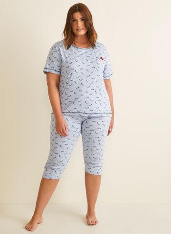 Karmilla Lingerie - Dog Motif Pyjama Set, Red,  pyjamas, t-shirt, capri, pull-on, short sleeve, dogs, elastic waist, set, spring summer 2020