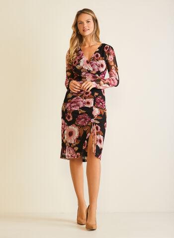 Robe fourreau fleurie à col croisé, Rouge,  robe cocktail, fleurs, col croisé, cache-coeur, fente, maille filet, automne hiver 2020