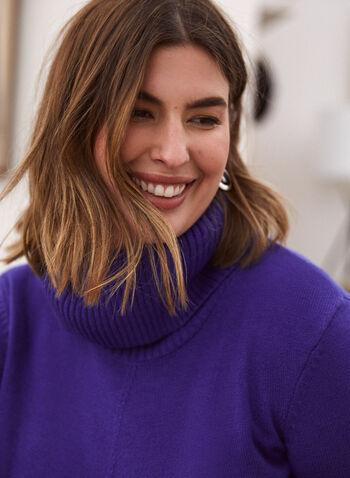 Long Sleeve Cowl Neck Sweater, Blue,  fall winter 2020, holiday, cowl neck, sweater, long sleeves, ribbed, knit