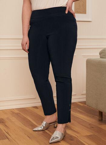Joseph Ribkoff - Grommet Detail Straight Leg Pants, Blue,  pants, pull-on, straight leg, grommet, tab, metallic, bengaline, spring summer 2021