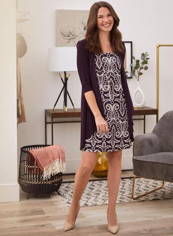 Cardigan & Dress Set, Purple,  fall winter 2020, dress, cardigan, set, brocade, holiday, holiday 2020, gifts