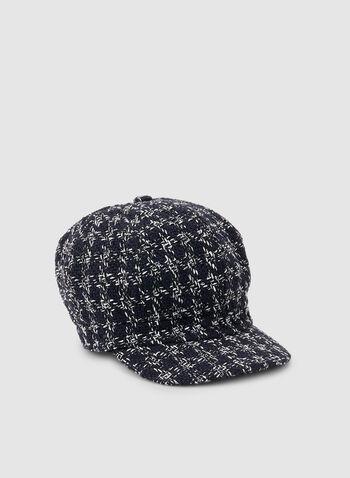 Casquette gavroche à motif tartan, Bleu,  casquette, gavroche, tartan, tweed, automne hiver 2019