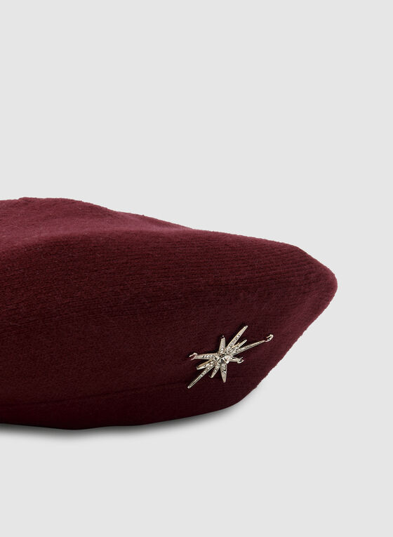 Starburst Pin Beret, Red