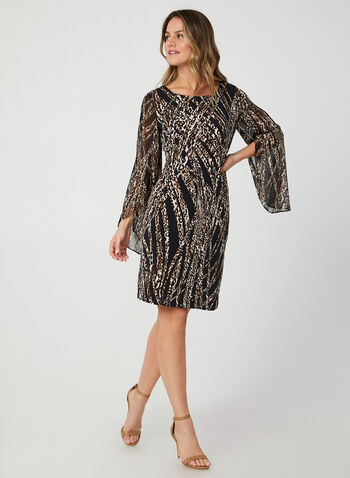 Cape Sleeve Dress, Black, hi-res,  fall winter 2019, leopard print, long sleeves, jersey, chiffon