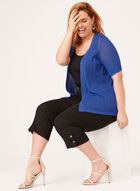 Pointelle Knit Cardigan, Blue, hi-res