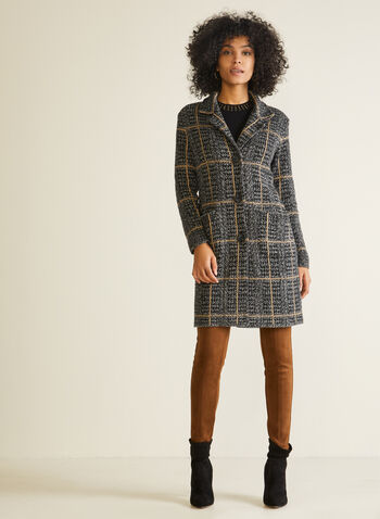 Houndstooth Cardigan Coat, Black,  jacket, cardigan, houndstooth, shirt collar, pockets, fall winter 2020