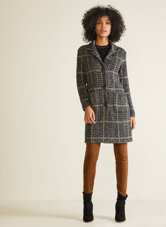 Houndstooth Cardigan Coat, Black