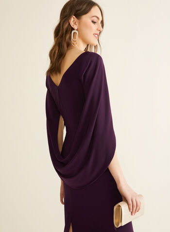 Draped Jersey Dress, Purple,  spring summer 2020, draped cape sleeves, jersey fabric, ruching, boat neck, cocktail dress