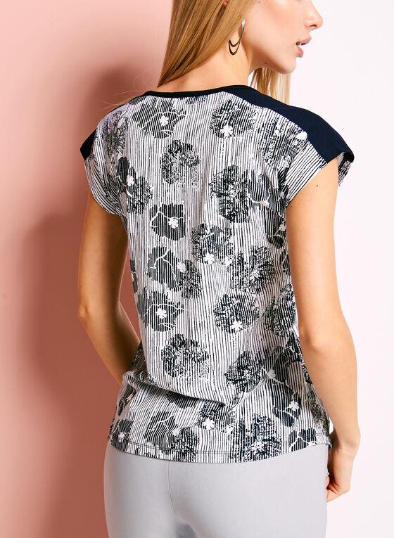 Zipper Trim Abstract Floral Print T-Shirt, Blue, hi-res