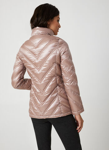 Packable Down Coat, Pink,  coat, packable, down, quilted, detachable hood, fall 2019, winter 2019
