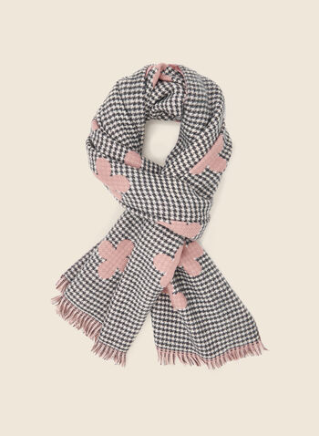 Clover Print Houndstooth Scarf, Pink,  fall winter 2020, scarf, houndstooth, clover, clover pattern, contrast, fringe