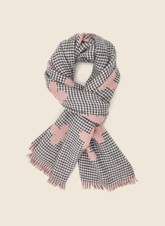 Clover Print Houndstooth Scarf, Pink