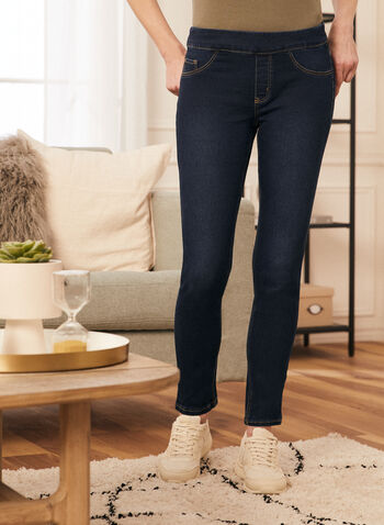 Pull-On Slim Leg Jeans, Blue,  jeans, denim, pull-on, slim leg, spring summer 2021