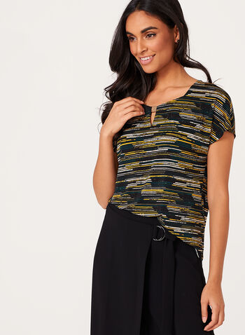 Stripe Print Keyhole Detail Top , , hi-res
