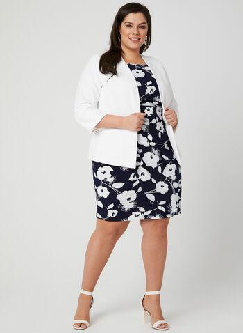 Floral Print Cowl Neck Dress, Blue, hi-res,  empire waist, jersey, drape neck, spring 2019