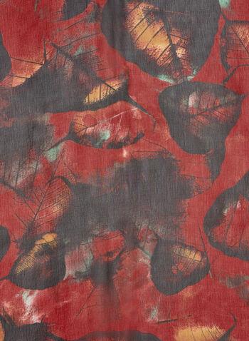 Foulard léger motif feuilles, Rouge, hi-res,  foulard, léger, feuilles, mousseline, automne hiver 2019