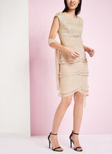 Lace & Chiffon Dress with Scarf, Off White, hi-res