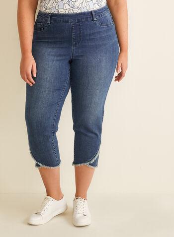 Capri pull-on à ourlet frangé, Bleu,  capri, jambe étroite, ourlet frangé, poches, coton, printemps été 2020