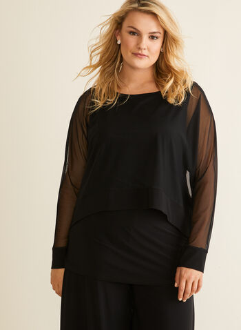 Joseph Ribkoff - Mesh & Jersey Top, Black,  top, blouse, long sleeve, mesh, jersey, scoop neck, layered, spring summer 2020