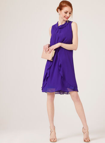 Sleeveless Capelet Dress, Blue, hi-res