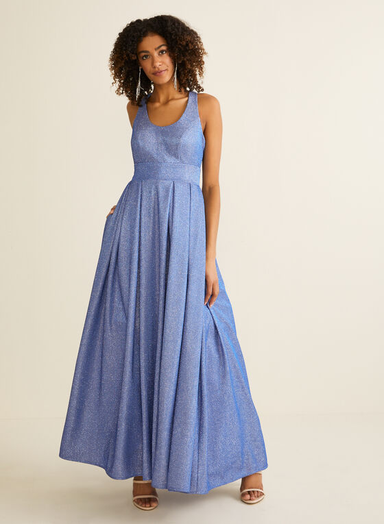 Sleeveless Metallic Pleated Gown , Blue
