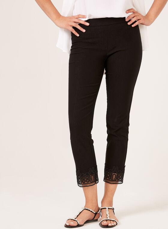 Pantalon pull-on à jambe étroite et ourlet en crochet, Noir
