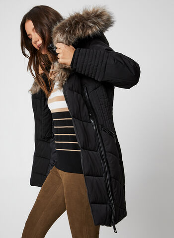 Northside - Hooded Quilted Coat, Black,  coat, quilted, feather loft, vest, hood, faux fur trim, knit, winter 2019