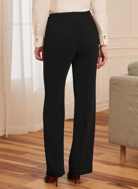 Pleated Straight Leg Pants, Black