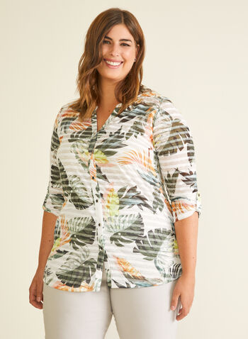 Tropical Print Button Down Tee, Green,  t-shirt, stripe, burnout, tropical, 3/4 sleeves, cotton blend, spring summer 2020