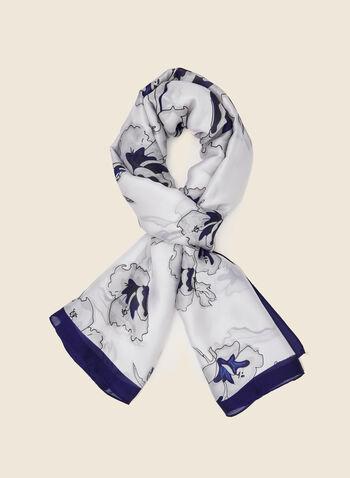 Foulard léger à motif floral , Bleu,  foulard, léger, floral, long, fleurs, soie, printemps été 2021