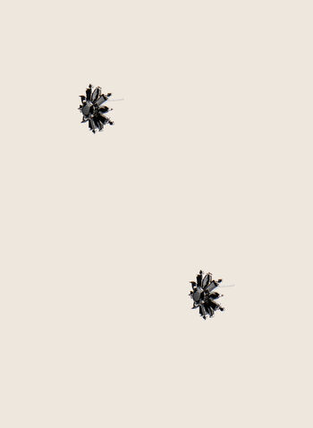 Flower Stud Earrings, Black,  earrings, studs, flower, stone, spring summer 2020