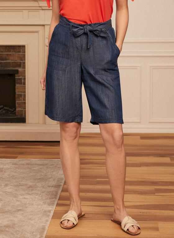 Denim-Style Belted Shorts, Blue