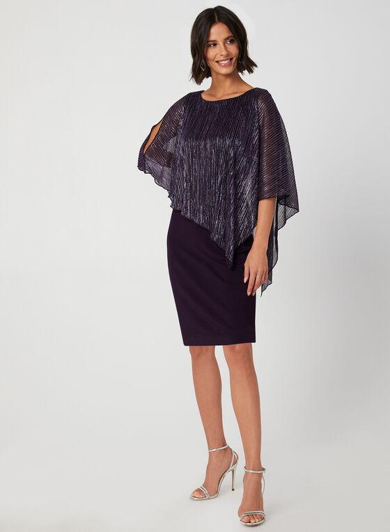 Robe poncho à fibres métallisées, Violet, hi-res