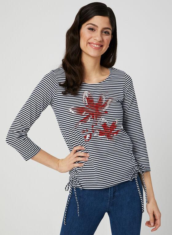 T-shirt rayé et fleur à manches ¾, Bleu