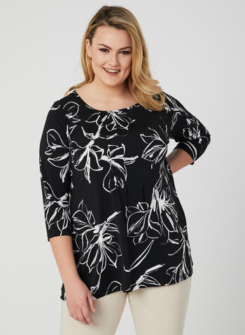 Floral Print Jersey Top, Black, hi-res,  blouse, floral print, 3/4 sleeves, pleating, jersey, spring 2019