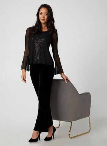 Sequin Mesh Top, Black,  Canada, top, long sleeves, bell sleeves, mesh, sequins, fall 2019, winter 2019