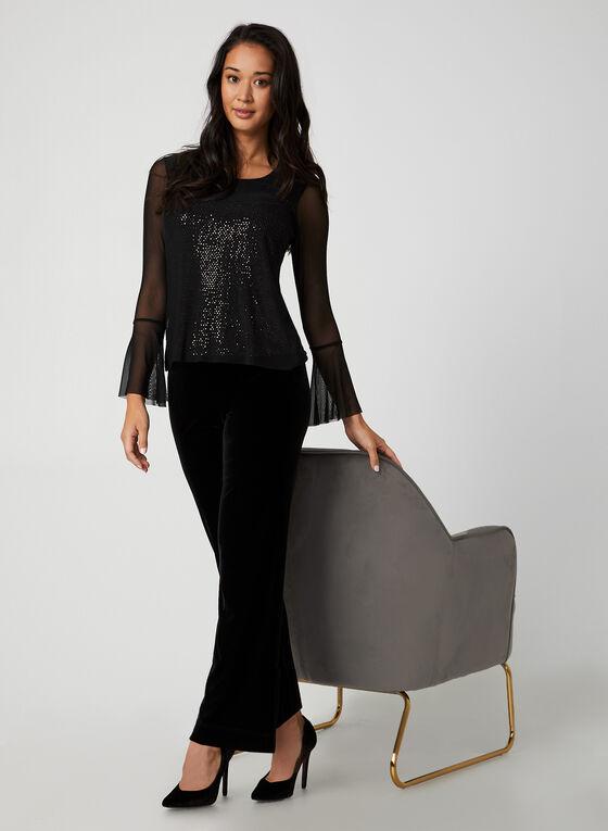 Sequin Mesh Top, Black