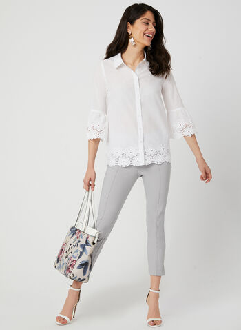 Embroidered Cotton Button Down, White, hi-res,  button down, cotton, 3/4 bell sleeves, embroidery, spring 2019, summer 2019