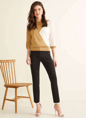 Colour Block Linen Sweater, White,  Spring summer 2020, knit, linen, tencel, dolman sleeves