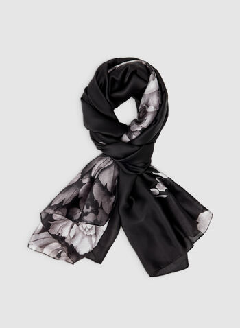 Floral Print Scarf, Black,  silk, butterflies, flowers, butterfly print, fall 2019, winter 2019