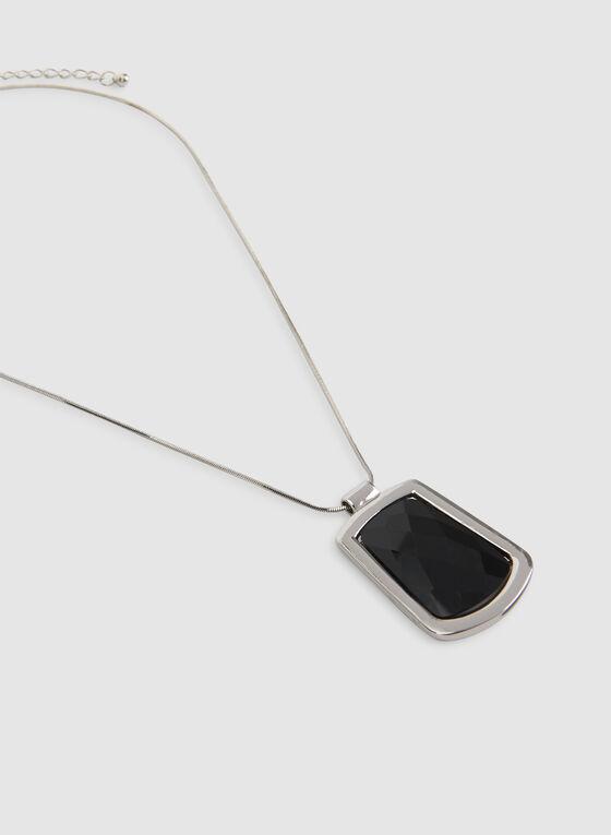 Collier court à pendentif géométrique, Noir, hi-res