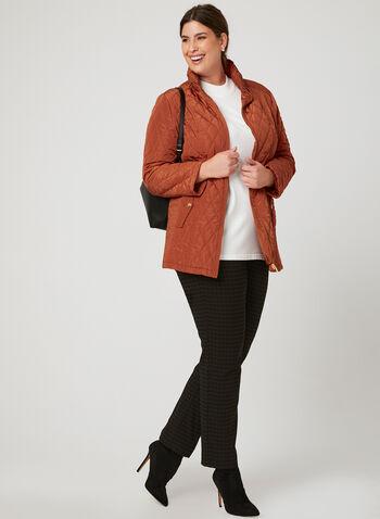 Quilted Hooded Transition Coat, Orange, hi-res