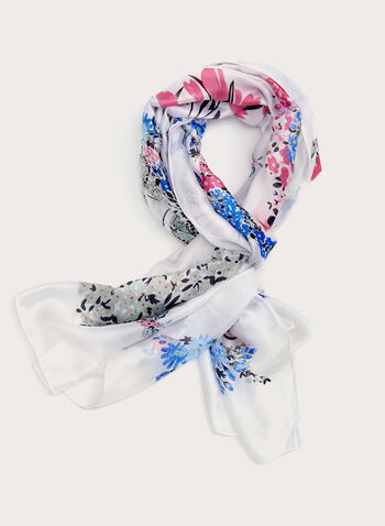 Lightweight Floral Print Scarf, White, hi-res