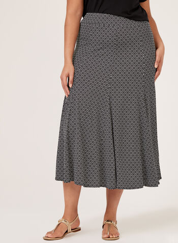 Geometric Godet Gore Skirt, Black, hi-res